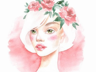 Schönes Mädchen. Aquarell Porträt. Weibliches Gesicht