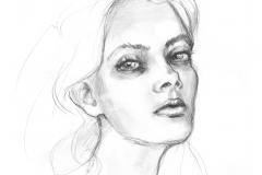 Die Mädchen_Bleistiftzeichnung Eine Kohlezeichnung