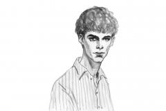 Aquarellporträt des jungen Mannes in gestreiftem Hemd. Hand gezeichnetes Jungengesicht auf weißem Hintergrund. Malereimode-Schwarzweiss-Illustration in der Weinleseart