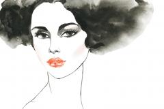 Malereiporträt der jungen Frau mit den roten Lippen. Hand gezeichnetes Mädchengesicht auf weißem Hintergrund. Aquarell Mode Schwarzweiß-Illustration im Vintage-Stil