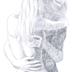 Hand-drawn Bild, Bleistift-Technik - LIEBHABER IN EMBRACE