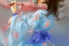 Frau, die Violine malt