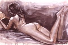 Nacktes Mädchen, das die Tablette, ursprüngliche Malerei, Tempera auf Segeltuch, in den warmen Sepiatönen legt und liest
