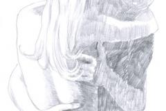 Hand-drawn Bild, Bleistift-Technik - LIEBHABER IN EMBRACE