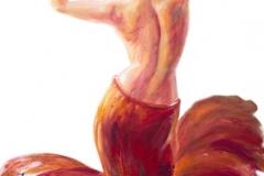 Schöne tanzende Frau im Rot. Ölgemälde.