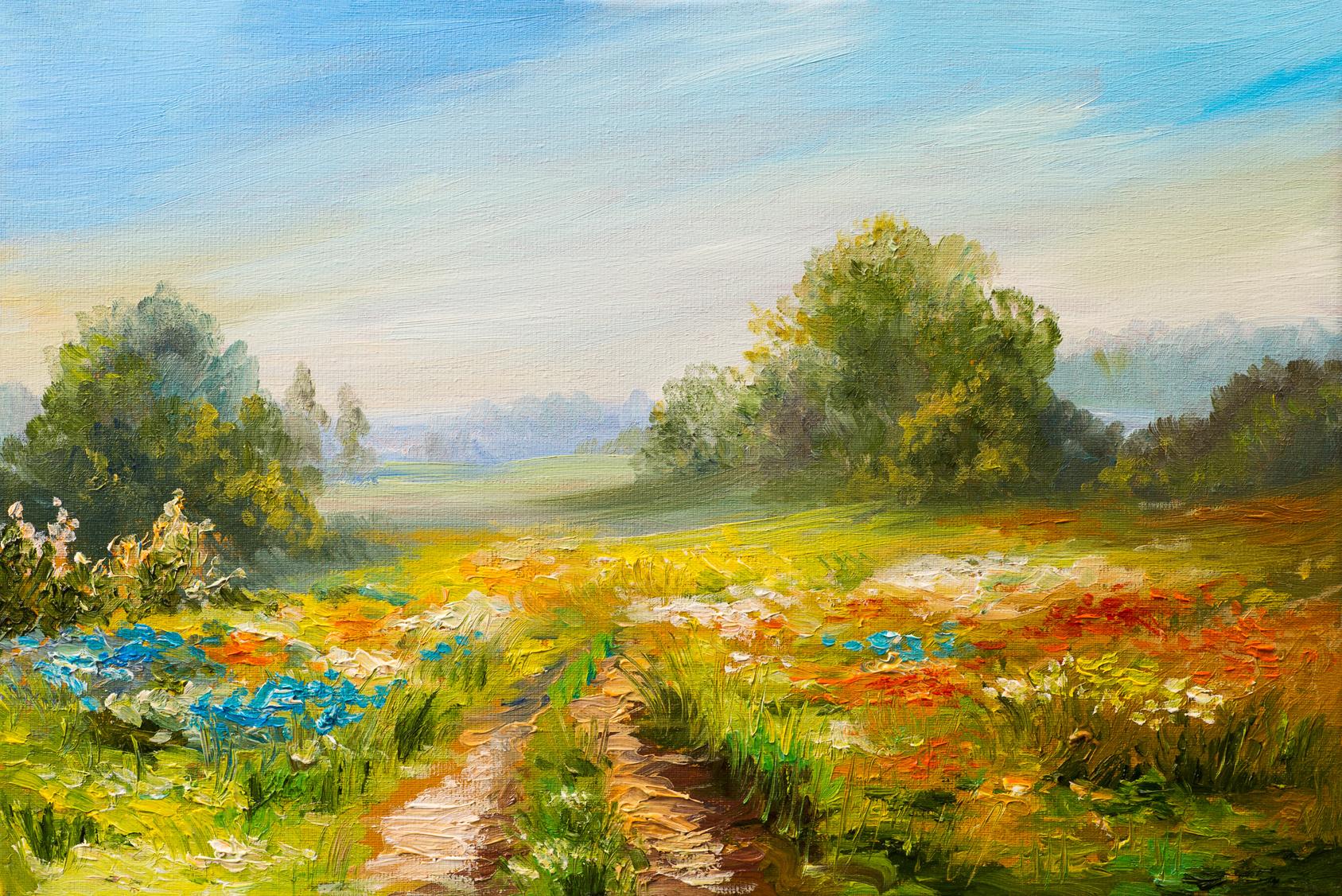 Maler Hamburg, Ölgemäldelandschaft, buntes Feld der Blumen, abstrakter Impressionismus