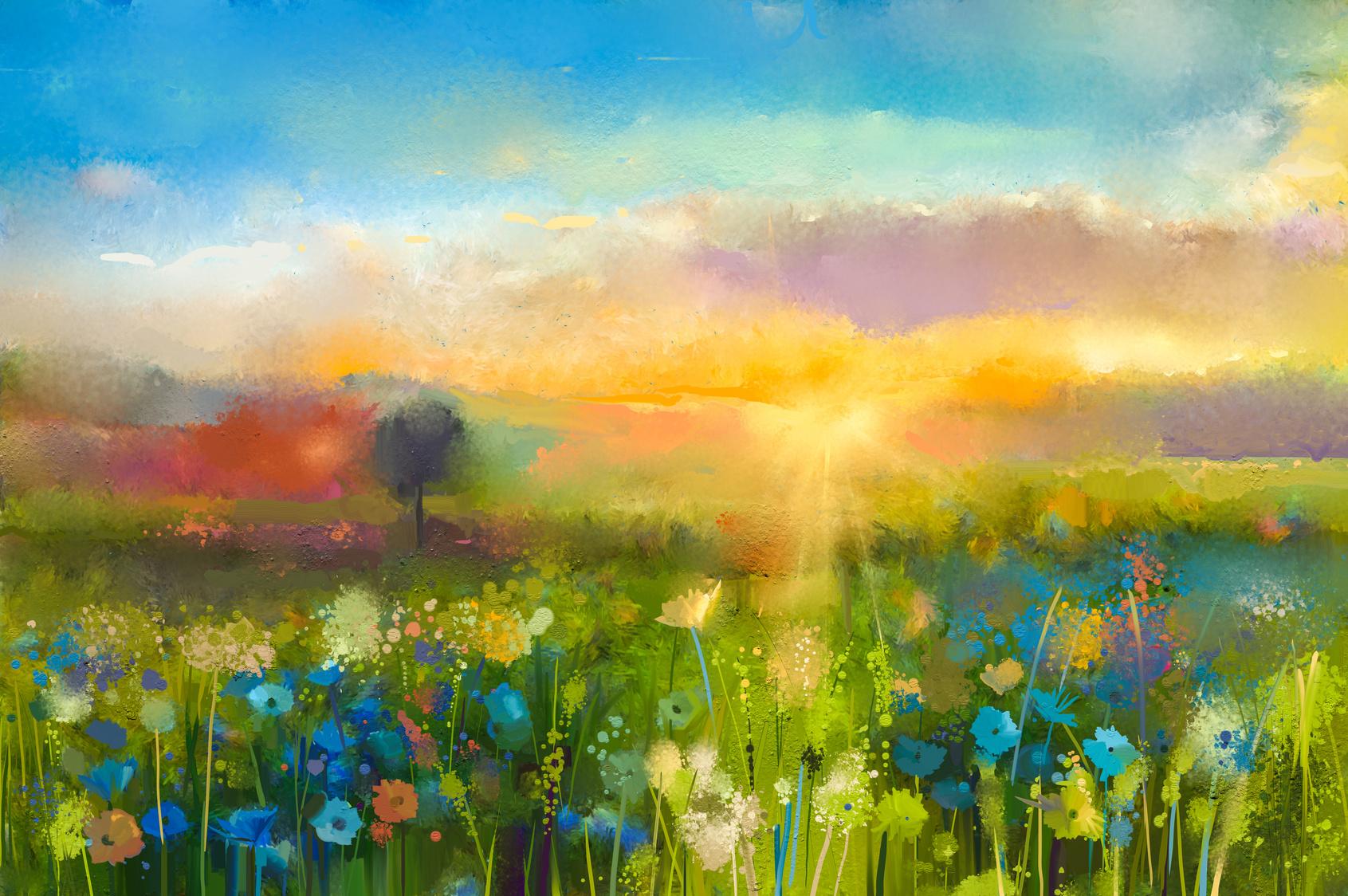 Ölgemälde blüht Löwenzahn, Kornblume, Gänseblümchen auf den Gebieten. Sonnenuntergangwiesenlandschaft mit Wildflower, Hügel und Himmel im orange und blauen Farbhintergrund. Hand Paint Sommer floral impressionistischen Stil