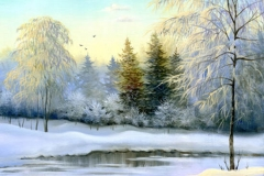 Malerei in Berlin, schöne Winterlandschaft, Leinwand, Öl
