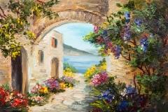Ölgemälde - Haus in der Nähe des Meeres, bunte Blumen, Sommer seelandschaft