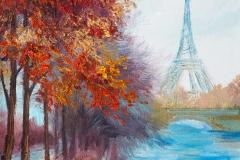 Ölgemälde des Eiffelturms, Frankreich, Herbstlandschaft
