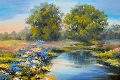 maler in Berlin, Ölgemäldelandschaft - Fluss im Wald, bunte Felder von Blumen