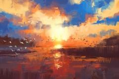 schöner Anstrich, der Sonnenuntergang auf dem See, Illustration zeigt