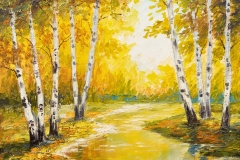 Ölgemäldelandschaft - Herbstwald nahe dem Fluss, orange Blätter