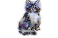 Illustration mit niedliche Katzen. Aquarell. Handgemalt.